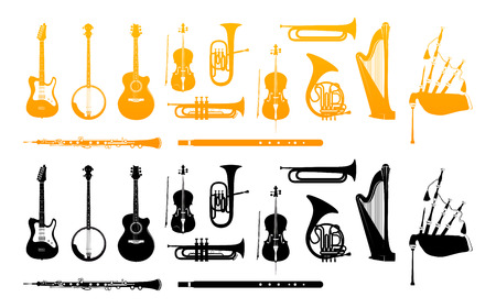 Set of Orchestra Musical Instruments in Gold and Black Colors. Vector Illustrations isolated on White background.