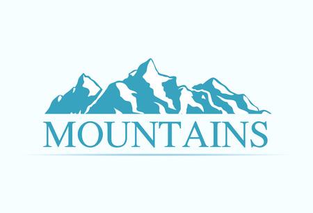 Logotipo con montañas Alpen aislado sobre fondo blanco. Ilustración vectorial de siluetas de rocas para empresa geológica o de viajes. Logos
