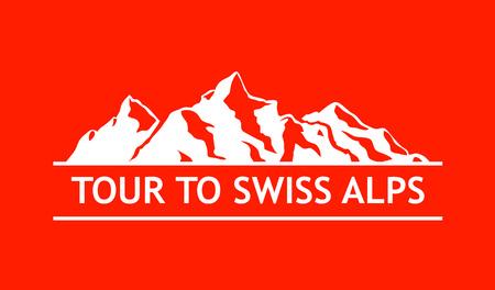 White Logo of Swiss Mountains Illustration