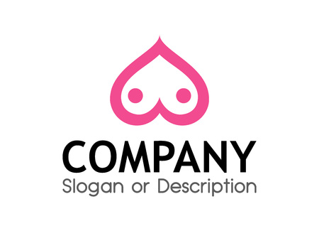 Vector Logo for Sex Shop with Boobs in shape of Heart - Original Style Emblem.