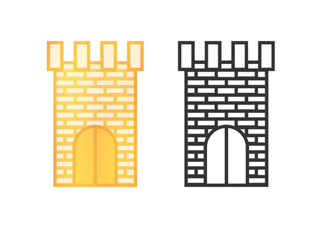 Vector Icons of Castle Towers isolated on white background.