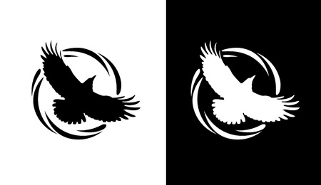 Logos in Black and White colors with Silhouette of Rook. Flying of Raven in Round Decorative Ring. Vector Emblems isolated on White background.