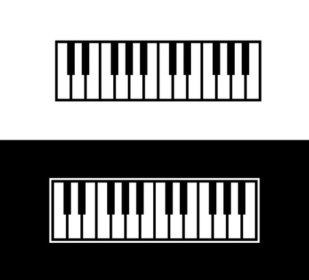 Keyboard of Piano, Vector Illustration of Music instrument isolated on white and black background.