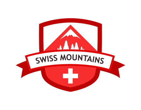 Vector Red Logo of Swiss Mountains Illustration