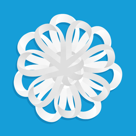 Snowflake Ornament from paper tape on blue background. Vector Illustration