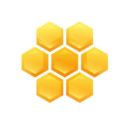 Hexagon Glossy Cells with Tasty Honey Illustration