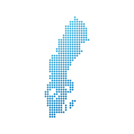 Map of Sweden, Vector Icon in blue modern style