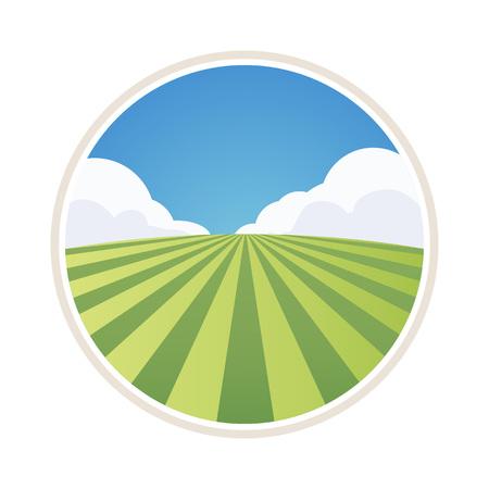 Etiqueta de granja redonda con campo de cebada aislado en blanco, ilustración vectorial