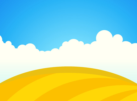 Farm Field of Wheat in Sunny day, Vector Landscape Illustration