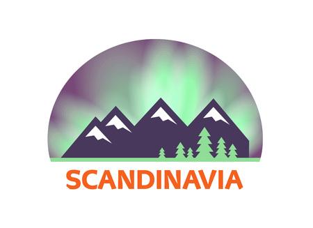 Label with Scandinavian Landscape, Vector Illustration isolated on white Ilustracje wektorowe