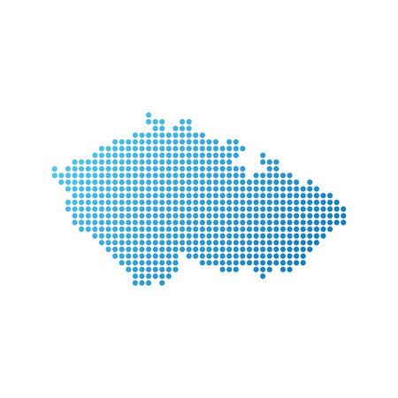 Karte der Tschechischen Republik, Vektorsymbol in der blauen Farbe