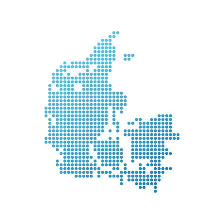 Map of Denmark, Vector Icon in blue modern style