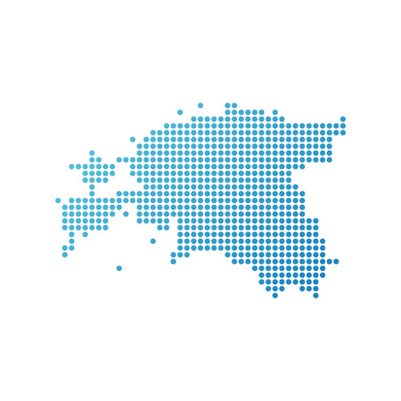 Map of Estonia, Vector Icon in blue modern style  イラスト・ベクター素材
