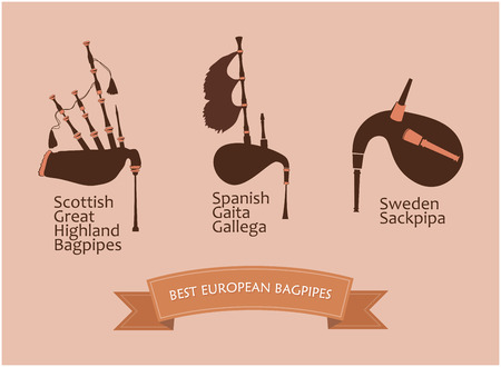 European Bagpipes Set on Brown Background Isolated, Vector Illustration.