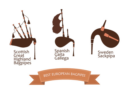 European Bagpipes Set, Vector Illustration Isolated on white Background