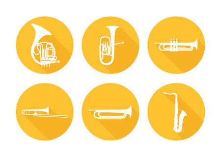 Set von Blasinstrumenten für Musikorchester