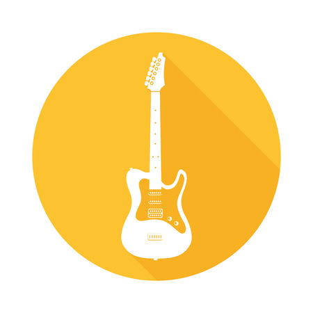 Electric Guitar on Round Icon