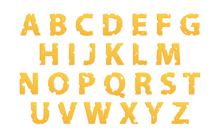 Vector Alphabet made of Cheese, Vector Icons isolated on white