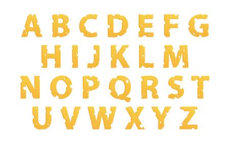 Vektor-Alphabet aus Käse, Vektor-Icons isoliert auf weiß