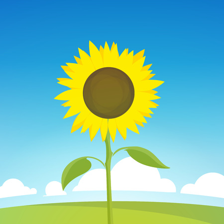 Landscape Illustration of Nature Farm. Vector Backdrop with Field and Sunflower, Symbol of Harvest