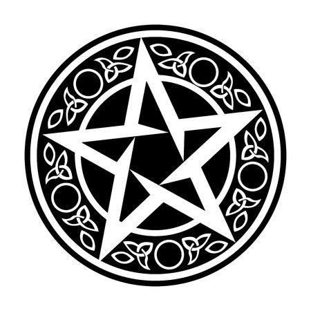 Black Wiccan Circular Ornament, Vector Illustration on white Ilustração
