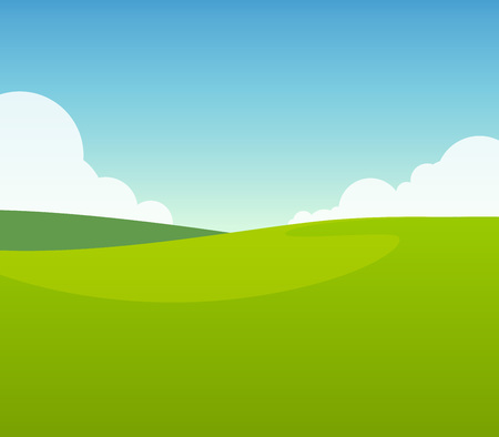 Green Field in Sunny Day. Vector Illustration of Dales.