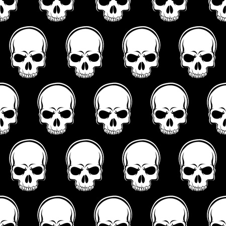 Vector Seamless Looped Pattern with Skulls in black and white