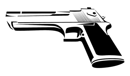 Desert Eagle in black and white - Power Pistol isolated on white. Style Design of Force Weapon. Vector Illustration. Иллюстрация