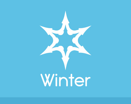 Winter Snowflake symbol white color isolated on blue. Vector Logo of Freeze Frost Star.  イラスト・ベクター素材