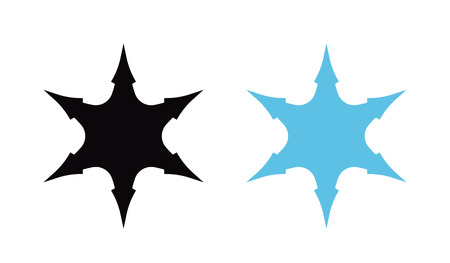 Vector silhouettes of Snowflakes in blue and black colors.