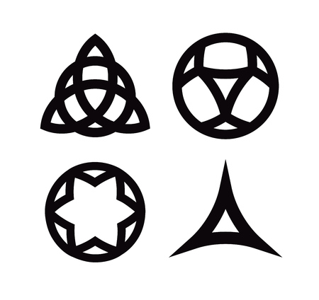 Vector Set of Wiccan symbols and icons isolated on white backgrounds. Pagan triquetra and Celtic Knot and other signs.