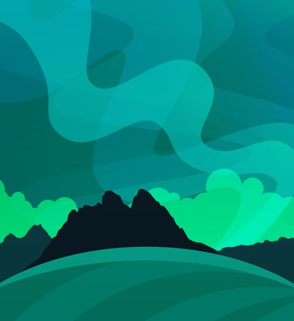 Aurora Borealis vector landscape in vector. Nature Wallpaper with Northern Lights at Night, Illustration of Scandinavian polar Nature. Illustration