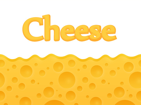 horizontal seamless Cheese background with Copy space at top. Vector Cartoon pattern. Vettoriali