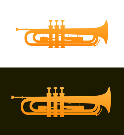 Trumpet - jazz music instrument with good details. Brass Cornet vector illustration isolated on white and black background. Banque d'images - 113567123