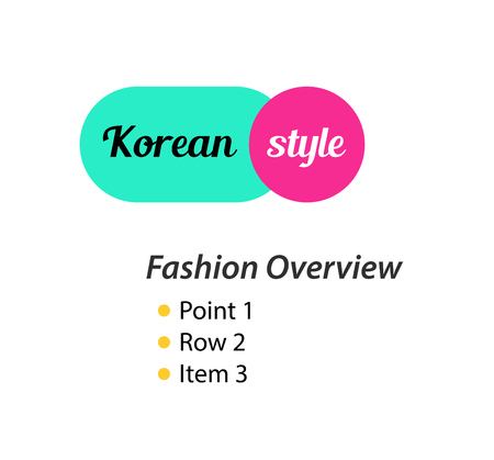 Korean Style, emblem for Fashion store of Clothing and Shoes in modern creative style.