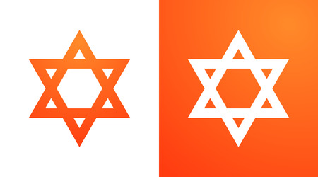 Star of David in orange color. Hexagram symbol of judaism