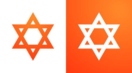 Star of David in orange color. Hexagram symbol of judaism