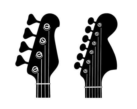 Sagome di paletta per chitarra elettrica e basso isolati su sfondo bianco.