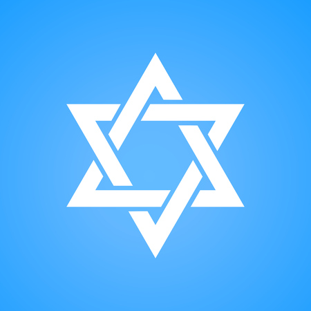 Stylized Star of David white color on blue background. Tanah Hexagram symbol of Israel judaism.