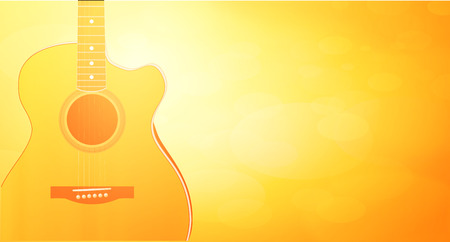 Vector Backtound with warm orange color and Acoustic Guitar. Horizontall wallpaper of sunshine and glow. Banque d'images - 113567135