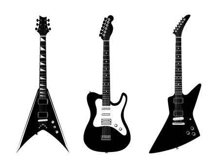 Set of Verious vector electric guitars illustration black color isolated on white background. Rock Music instruments. Banco de Imagens