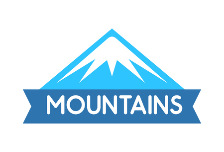 Vector emblem of Mountains in blue color, Logo for decoration of tour to alps, everest, expeditions and travel