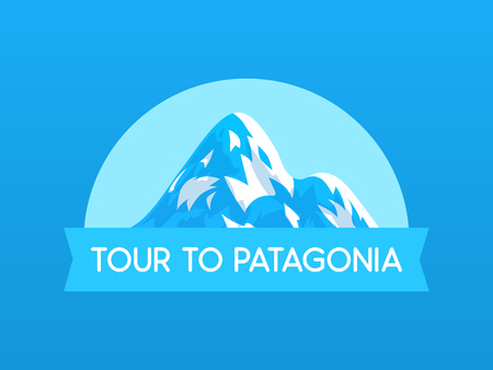 Tour to Patagonia, vector Logo illustration with Mountain of travel in South America in Chile and Peru