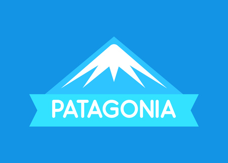 Patagonia, Vector emblem in blue color of South American Patagonia - Emblem for travel and tourism web site
