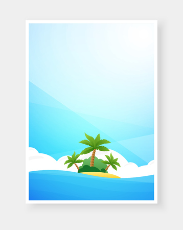 Tropical beach poster with copy space. Vector illustration with island with palms in sea at sunny day. Design template for banner, flyer, invitation.