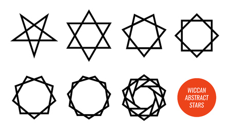 Wiccan symbol and all polygonal stars, pentagram, sexagram and other isolated on white. Big vector set of line symbols.