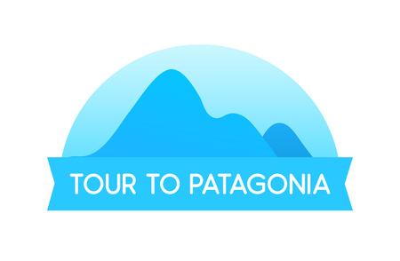 Tour to Patagonia, vector Emblem illustration in blue color of travel in South America in Chile and Peru. Stock Photo