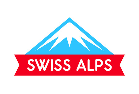 Swiss alps logo illustration, Vector emblem of mountain with ribbon and caption, Badge isolated on white background.