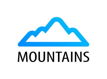 Mountains logo emblem for tour decoration. Vector illustration blue color of travel to Mountains. Stock Illustration - 114185449