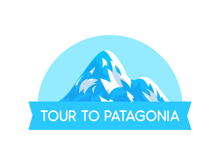 Logo Emblem with Illustration of Patagonia alps Vector Style - Vector Nature Landscape with text label isolated on white background. Stock Photo